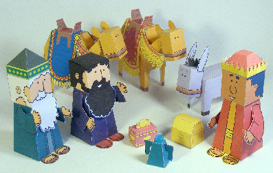 Papercraft imprimible y armable de un sencillo portal de Belén. Manualidades a Raudales.