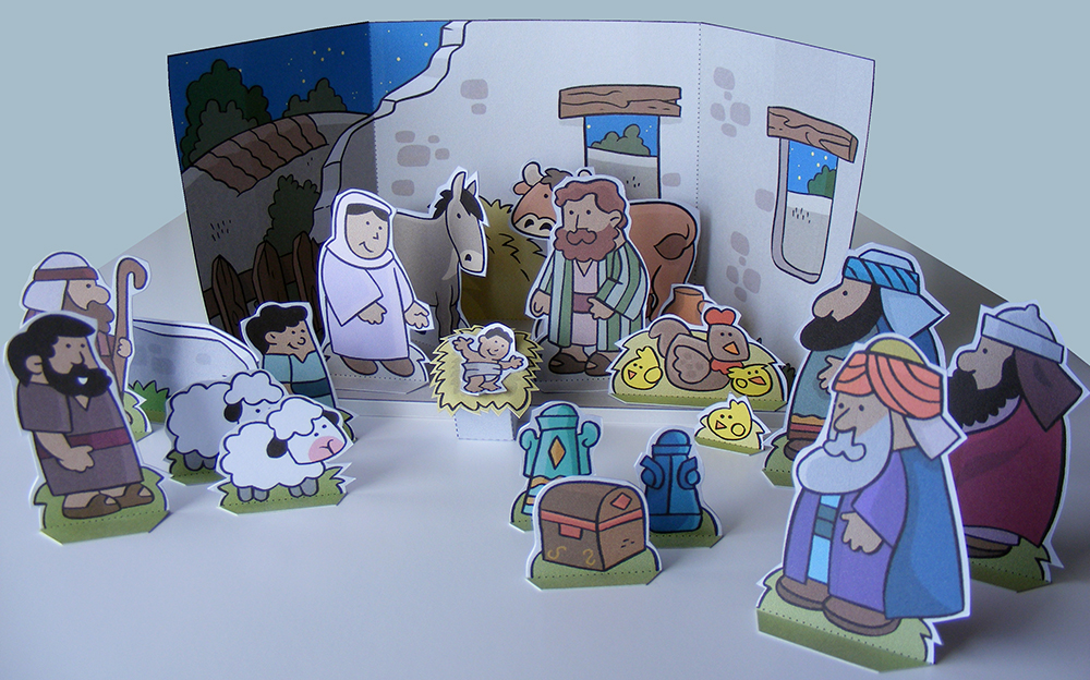 Free Christmas Nativity Diorama My Little House